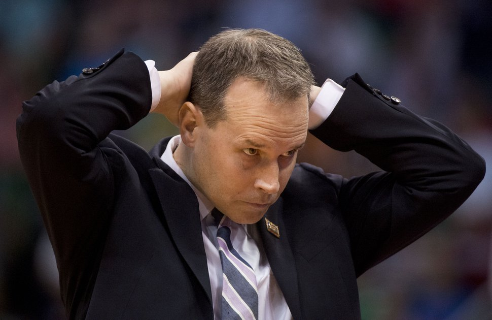 Chris Detrick | The Salt Lake Tribune Northwestern coach Chris Collins reacts during the first round of the NCAA Tournament in Salt Lake City on Thursday, March 16, 2017.