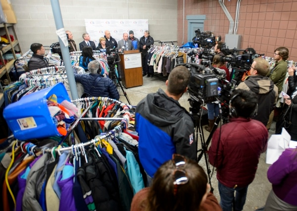 (Steve Griffin | The Salt Lake Tribune) Utah Lt. Gov. Spencer Cox urges Utahns to donate directly to service providers instead of donating directly to homeless individuals because of public safety and health concerns. Cox joined others at the St. Vincent de Paul clothing room during a news conference in Salt Lake City Monday December 11, 2017.