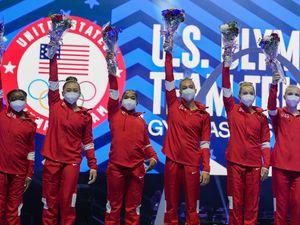 (Jeff Roberson | AP) Members of the U.S. Women's Olympic Gymnastic Team, from left, Simone Biles, Suni Lee, Jordan Chiles, and Grace McCallum plus individual members MyKayla Skinner and Jade Carey are announced after the U.S. Olympic Gymnastics Trials Sunday, June 27, 2021, in St. Louis.