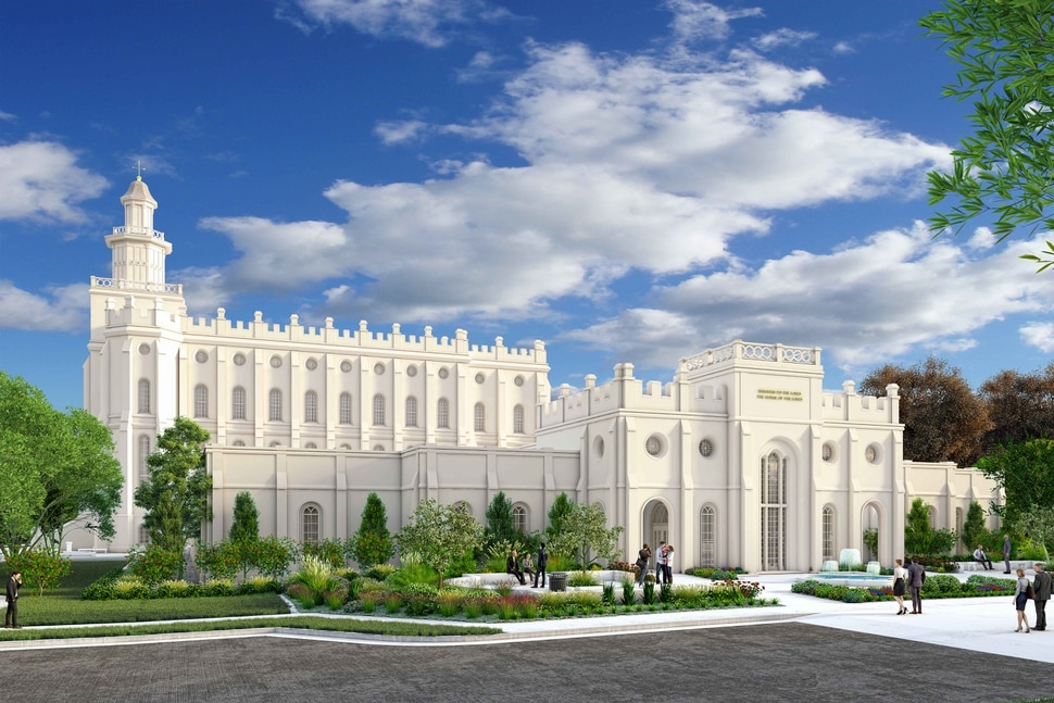 (Courtesy of The Church of Jesus Christ of Latter-day Saints) Rendering of the new temple annex for the St. George Utah Temple.