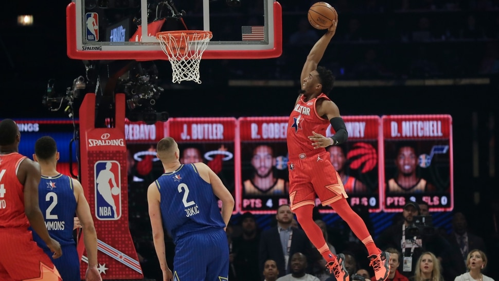 Donovan Mitchell of the Utah Jazz dunks during the first half of the NBA All-Star basketball game Sunday, Feb. 16, 2020, in Chicago. (AP Photo/Nam Huh)