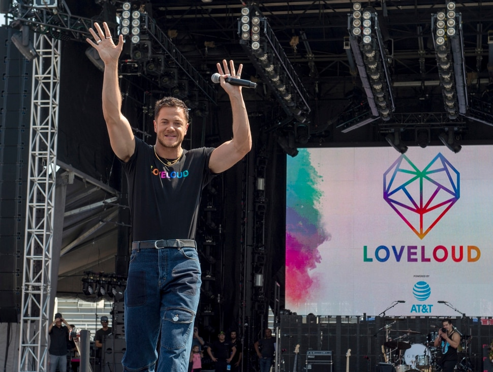 (Rick Egan | The Salt Lake Tribune) Loveloud Founder Dan Reynolds greets the crowd at the start of the Loveloud Festival in the early afternoon, at Rice-Eccles Stadium, Saturday, July 28, 2018.