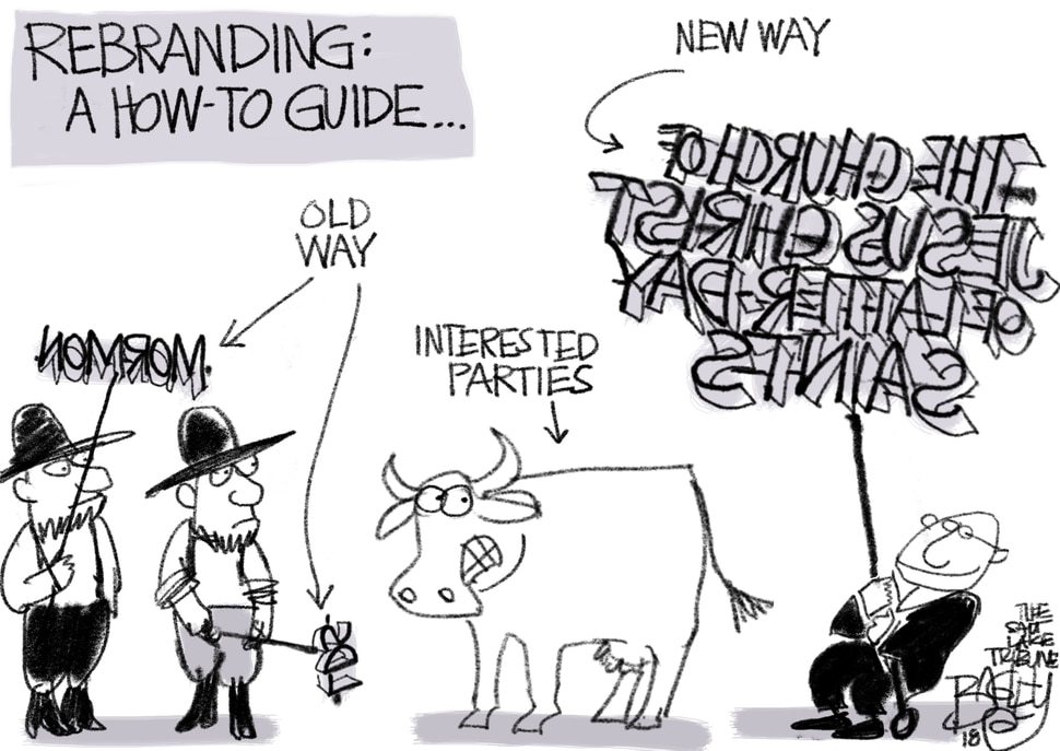 This Pat Bagley cartoon, The Mormon Rebrand, appears in The Salt Lake Tribune on Friday, Aug. 17, 2018.
