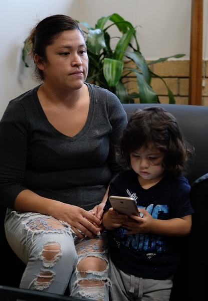 (Francisco Kjolseth | The Salt Lake Tribune) Monse Palestina, 29, who was 8-years-old when she was brought into the country illegally expresses her concern over the end of the DACA program alongside her son Erik, 2, one of her three children during a visit to the Mexican Consulate on Tuesday, Sept. 12, 2017. The Mexican Consulate is currently offering free legal advice to DACA recipients, particularly the ones who need to renew it by the Oct. 5 deadline, and is covering the government fee to reapply before the deadline.