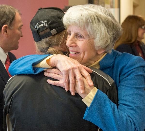 Rick Egan | The Salt Lake Tribune Pamela Atkinson gives Ritchard Menke a hug as she arrives at the Fourth Street Clinic to kick off the 2016 Pamela Atkinson Homeless Trust Fund tax season donation campaign, Thursday, February 4, 2016.