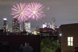(John Minchillo | AP Photo)  In this June 19 photo, fireworks explode during Juneteenth celebrations above the Bedford-Stuyvesant neighborhood in the Brooklyn borough of New York. The Manhattan skyline is seen in the background. They light up the sky in celebration, best known in the U.S. as a way to highlight Independence Day. This year, fireworks aren't being saved for special events. They've become a nightly nuisance from Connecticut to California, angering sleep-deprived citizens and alarming local officials.
