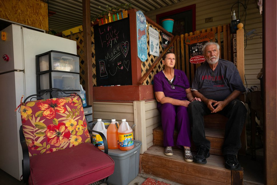(Trent Nelson | The Salt Lake Tribune) Inge and Gary Richins at their home of twenty years in Centerville Mobile Estates in Centerville on Monday, July 13, 2020. The residents of the community face eviction due to a possible sale of the property.