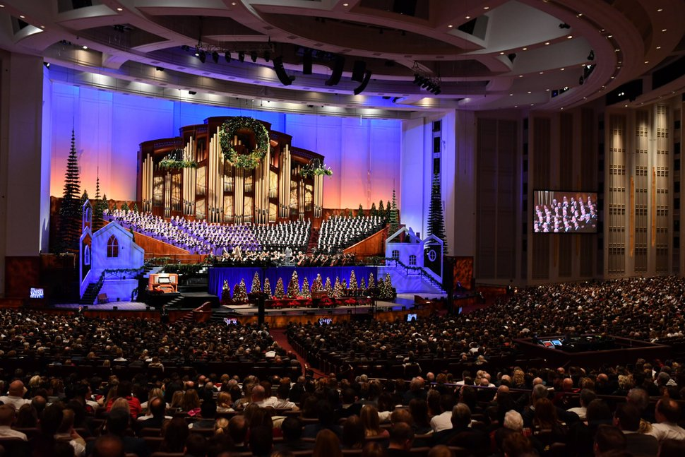 (Photo courtesy of The Church of Jesus Christ of Latter-day Saints) The Tabernacle Choir and Orchestra at Temple Square performs beloved Christmas numbers at the 2019 First Presidency Christmas Devotional.
