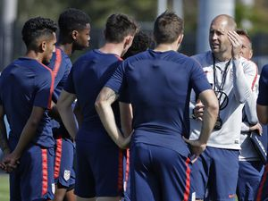 (AP Photo/Chris O'Meara, File)   In this Wednesday, Jan. 8, 2020, file photo, Gregg Berhalter, right, head coach of the U.S. Men's National Soccer team, instructs some of his players during drills in Bradenton, Fla. Berhalter, and the USMNT will play host to Costa Rica at Rio Tinto Stadium on June 9.