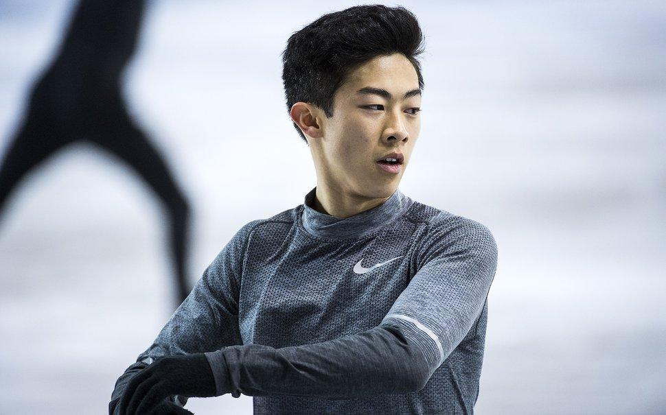 (Chris Detrick | The Salt Lake Tribune) Salt Lake City's Nathan Chen practices his Men's Single Skating Short Program for the Team Event at the Gangneung Ice Arena Thursday, February 8, 2018.