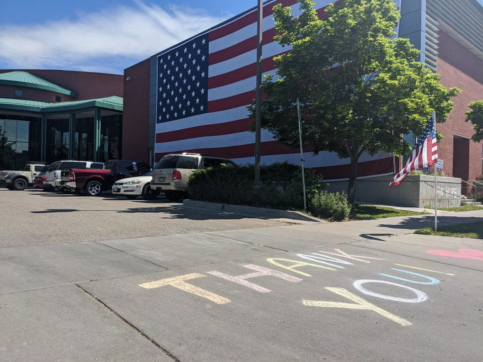 (Jessica Miller | The Salt Lake Tribune) The Ogden police station was decorated with flags and notes of gratitude on Friday, May 29, 2020, a day after Officer Nate Lyday was shot and killed while responding to a domestic violence report.