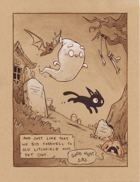 (Cam Kendell | image courtesy of the artist) A page from Orem artist Cam Kendell's Mortimer B. Radley and the Case of the Missing Monkey Skull, a comic book mystery. Kendell originally created and drew the comic one day at a time last year, during the monthlong Inktober online event held every October.