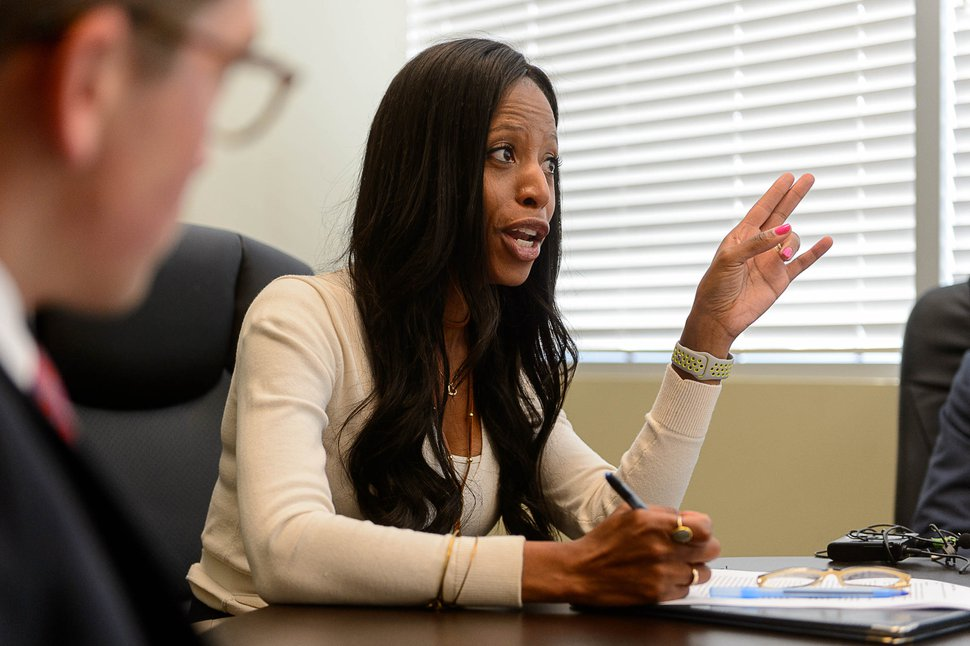 (Trent Nelson | The Salt Lake Tribune) U.S. Rep. Mia Love, R-Utah, meets with constituents during