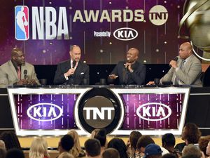 Shaquille O'Neal, from left, Ernie Johnson, Kenny Smith and Charles Barkley speak at the NBA Awards on Monday, June 25, 2018, at the Barker Hangar in Santa Monica, Calif. (Photo by Chris Pizzello/Invision/AP)