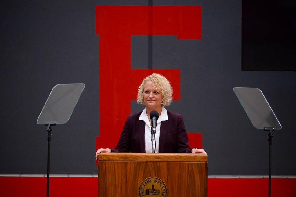 (Trent Nelson | The Salt Lake Tribune) Salt Lake City Mayor Jackie Biskupski gives her State of the City address at East High School in Salt Lake City on Thursday Jan. 17, 2019.
