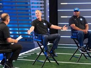 (Francisco Kjolseth | The Salt Lake Tribune) BYU athletic director Tom Holmoe, center, is joined by head football coach Kalani Sitake as they go on live tv programming for BYU Football Media Day at the BYU Broadcasting Building in Provo on Thursday, June 17, 2021.