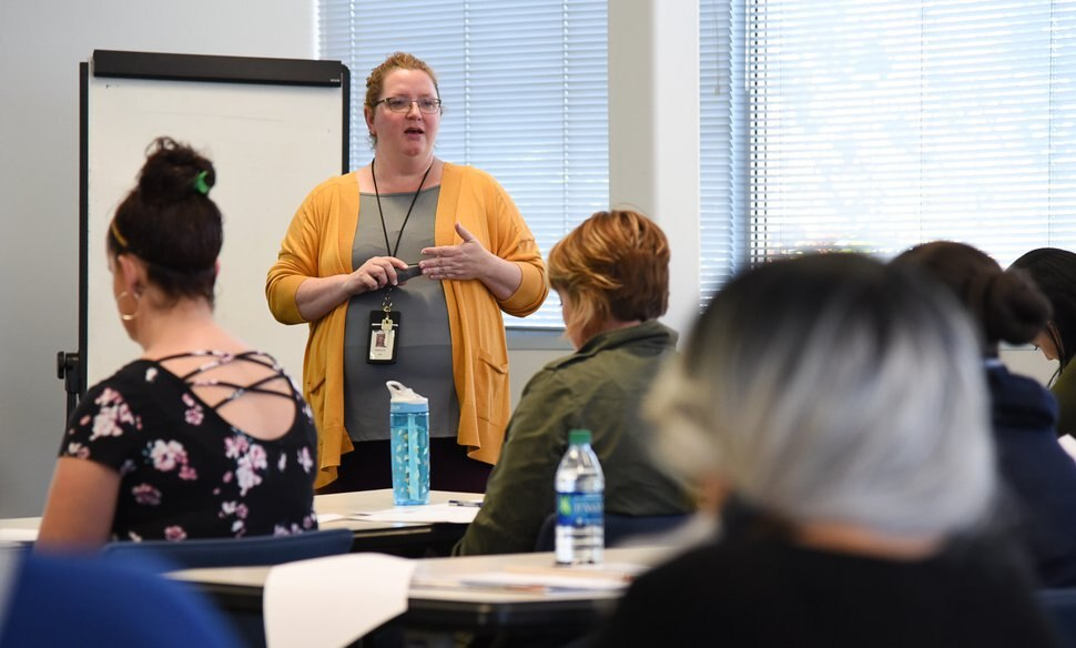 (Francisco Kjolseth | The Salt Lake Tribune) Work success coach Rebecca Ntshalintshali runs a workshop at the Department of Workforce Services in Taylorsville on job hunting, being prepared for an interview and how to get background about a potential employer.