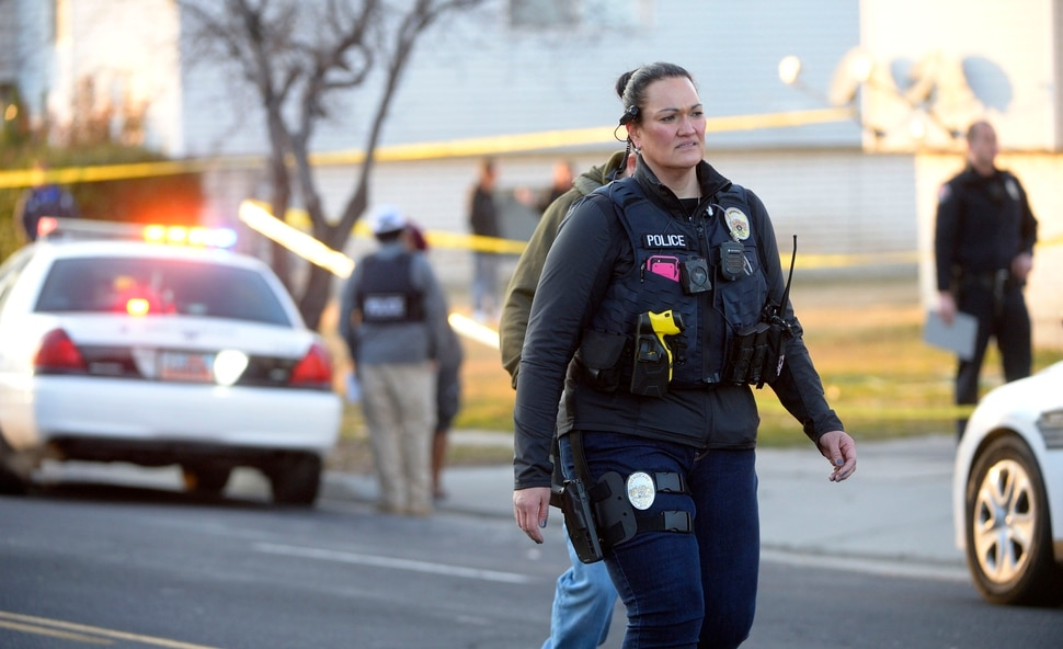 (Steve Griffin | The Salt Lake Tribune) Police tape surrounds an apartment complex in West Valley City after three people were shot at an apartment complex at 3500 south Parkway Blvd. in West Valley City Tuesday Feb. 13, 2018.