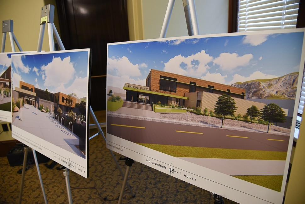 (Francisco Kjolseth | The Salt Lake Tribune) Renderings give a snapshot of the three new shelters that will house a total of 700 new beds as the Homeless Resource Center Transition Team gets ready to present the planned timeline for the transition from the downtown shelter to the three new homeless resource centers during a press event at the Utah State Capitol on Wed. Jan. 23, 2019.