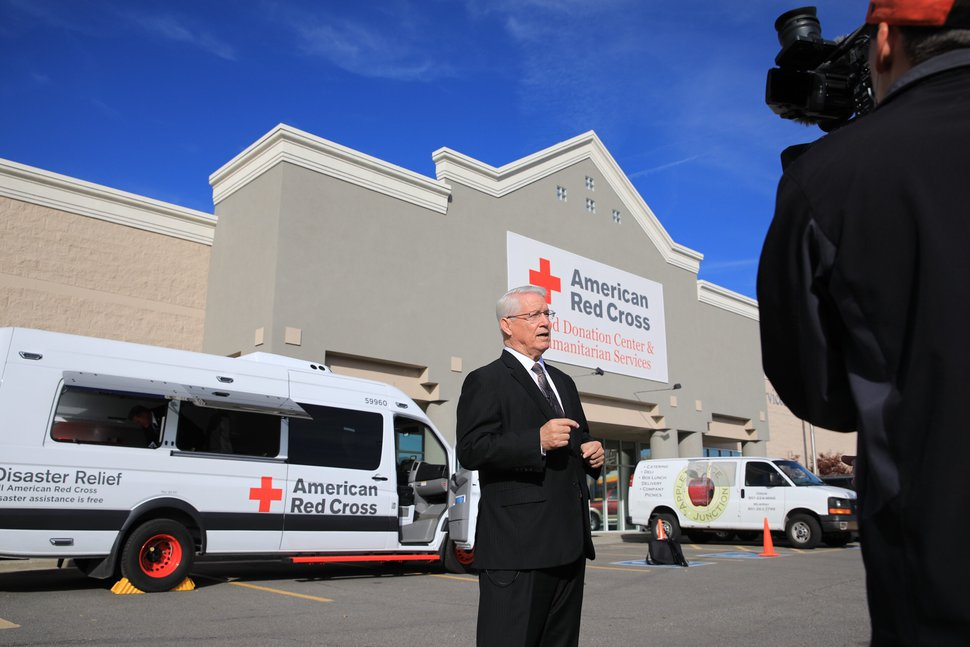 (Courtesy photo | The Church of Jesus Christ of Latter-day Saints) Bishop Dean M. Davies of the Presiding Bishopric speaks to journalists after announcing a donation of $1.5 million to the American Red Cross to buy 10 new emergency response vehicles. Oct. 26, 2018.
