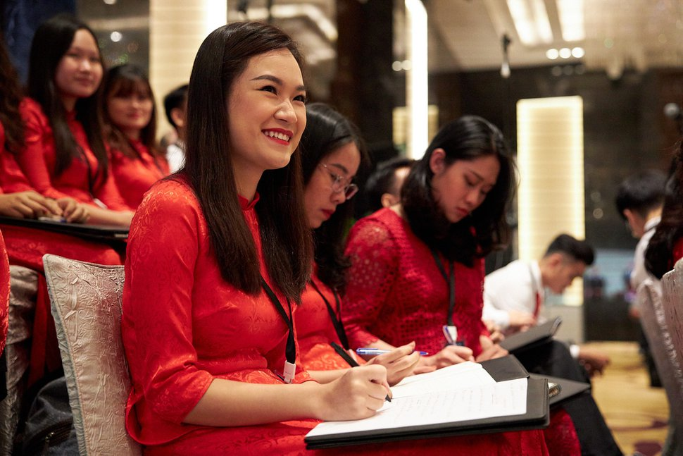 (Photo courtesy of The Church of Jesus Christ of Latter-day Saints) Choir members take notes while listening to President Russell M. Nelson speak at a devotional for church members and friends in Hanoi, Vietnam, on Sunday, Nov. 17, 2019.