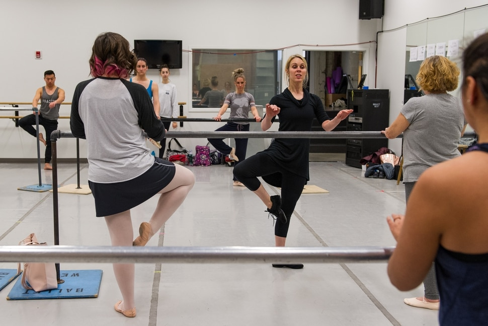 (Alex Gallivan | Special to the Tribune) Ballet instructor Nikki Bybee demonstrates a move recently during a new exercise class for adults offered by the Ballet West Academy in Salt Lake City.