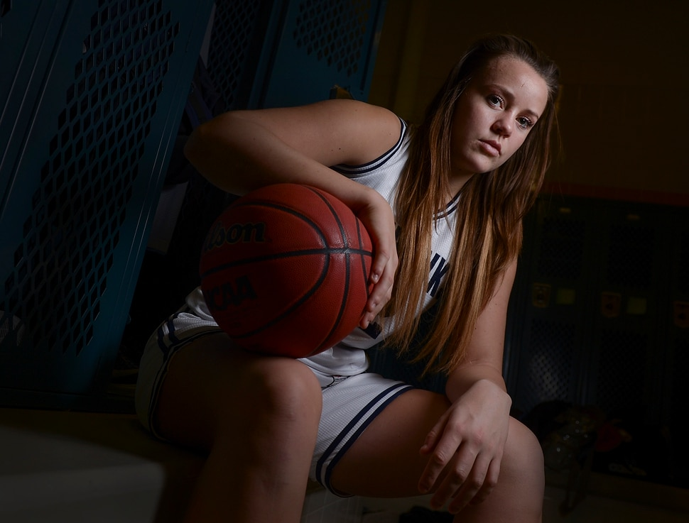 (Leah Hogsten | The Salt Lake Tribune) Basketball player Lauren Gustin is averaging double points and double rebounds during games at center for the Salem Hills girls' basketball team. Gustin has committed to play for University of Idaho next fall. Jan. 25, 2018.