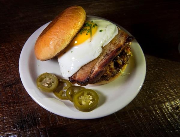 (Scott Sommerdorf | The Salt Lake Tribune) The Sunrise Burger with poached egg at the Purgatory Bar.