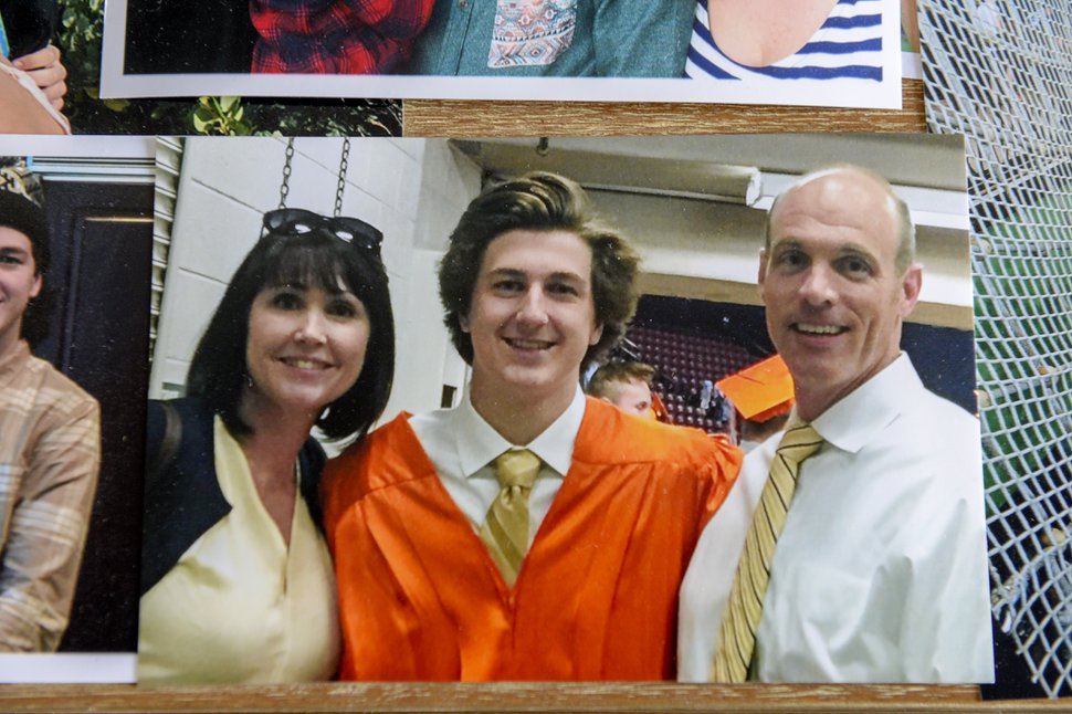 (Leah Hogsten | The Salt Lake Tribune) A photograph of Zane James and his parents Tiffany and Aaron James, at Zane's Brighton High School graduation in June 2016.