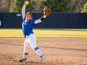 (BYU|Joey Garrison) Autumn Moffat-Korth pitches against Utah State on May 11. The BYU ace pitched her second consecutive Tempe Regional game on Friday against Southern Illinois.