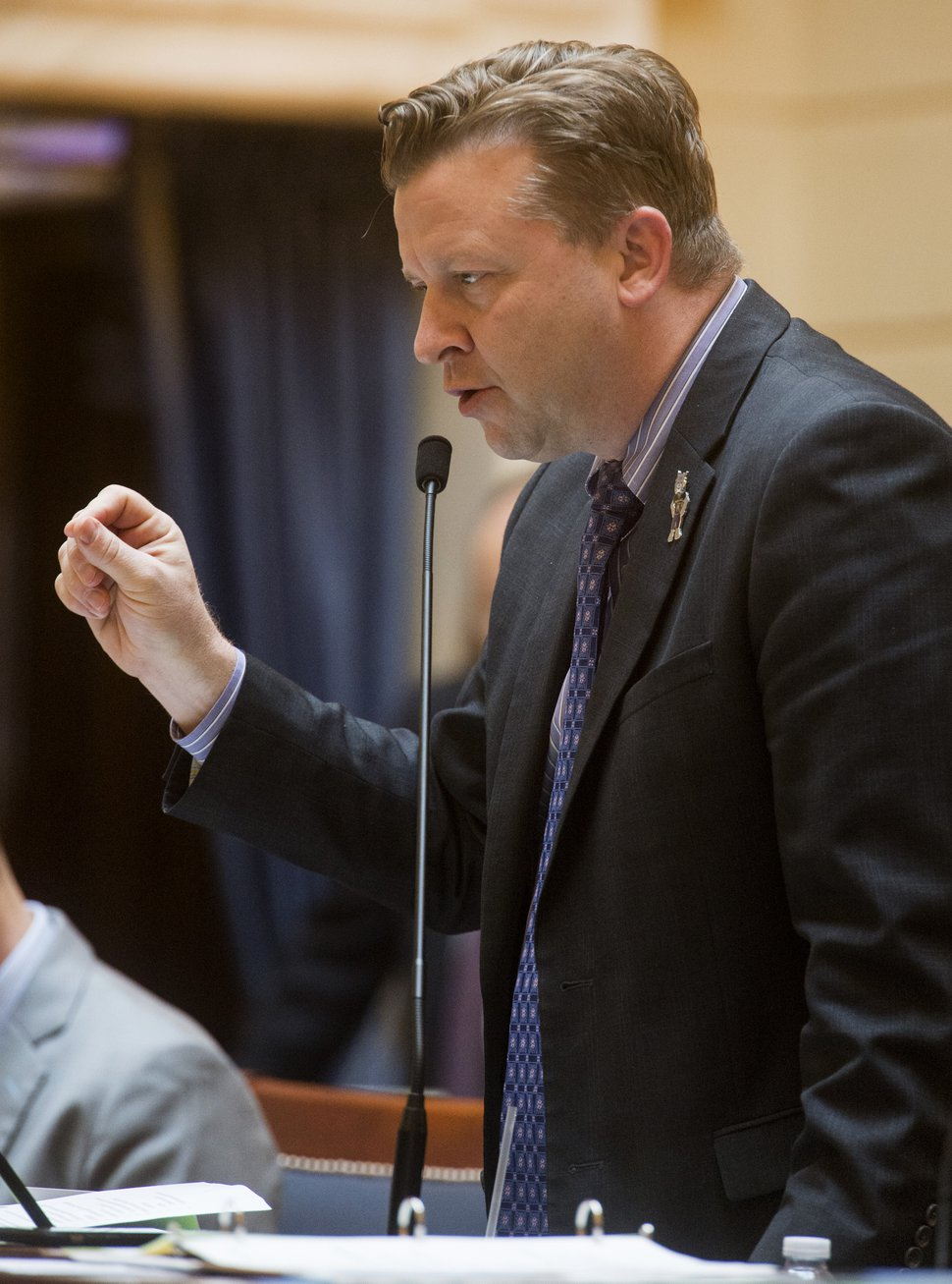 (Rick Egan | The Salt Lake Tribune) Sen. Todd Weiler argues a bill in the Utah Senate, Thursday, Feb. 1, 2018.