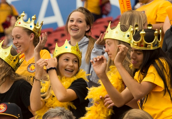 (Rick Egan | The Salt Lake Tribune) Real fans dance to the music, during soccer action between Utah Royals FC and Portland Thorns FC, at Rio Tinto Stadium, Saturday, April 28, 2018.