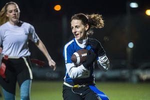 (Chris Detrick  |  The Salt Lake Tribune) Team A Lot's Leslie Hadfield runs the ball during the flag football team game against Sim Team at North University Fields in Provo Thursday, November 30, 2017.