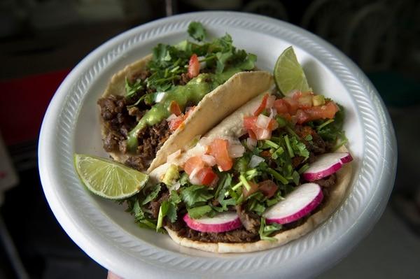 (Scott Sommerdorf | The Salt Lake Tribune) Carne asada tacos at Anaya's Market in Park City.
