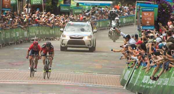 Rick Egan   The Salt Lake Tribune Lachlan Norris and Brent Bookwalter are neck and neck on the final climb up Park City's Main Street, in Tour of Utah Stage 7, competition Sunday, August 9, 2015. Norris edged out Bookwalter to win the stage.