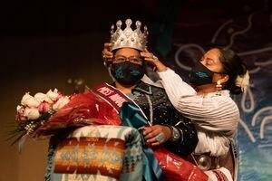 (Jacob James | Special to The Tribune) Niagara Rockbridge of Piñon, Ariz., was coronated as Miss Navajo Nation for 2021-2022 at a pageant at Window Rock, Ariz., Saturday, Sept. 11, 2021.