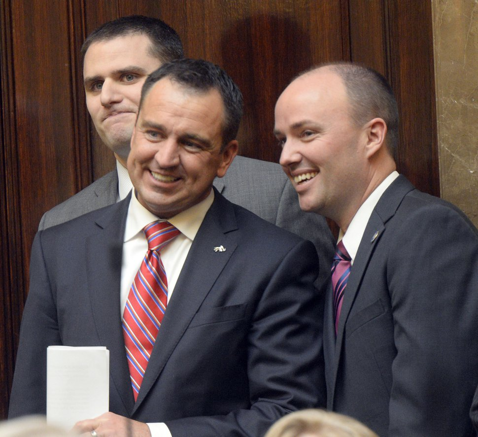 Al Hartmann | The Salt Lake Tribune Soon to become Speaker of the House Greg Hughes, left, chats with Utah Lt. Governor Spencer Cox at the back door of the House of Representatives before taking take the oath of office at the start of the 2015 legislative session Monday Jan 26.