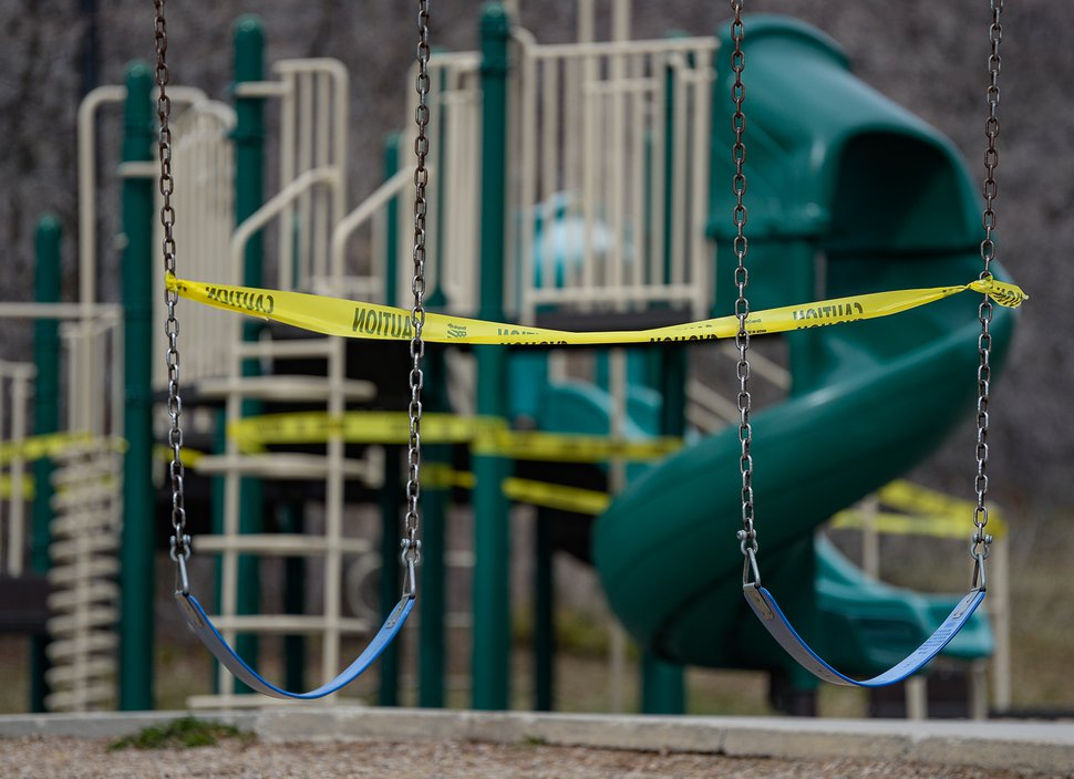 (Francisco Kjolseth | The Salt Lake Tribune) The playground equipment at Donner Trail Park in Salt Lake County is closed off due to the coronavirus pandemic on Tuesday, April 7, 2020.