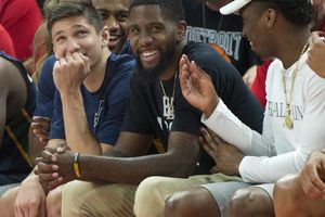 (Rick Egan  |  The Salt Lake Tribune) Jazz guard Grayson Allen, Royce O'Neale, and Donovan Mitchell watch from bench, in Utah Jazz summer league action between Utah Jazz and Memphis Grizzlies in Salt Lake City, Tuesday, July 3, 2018.