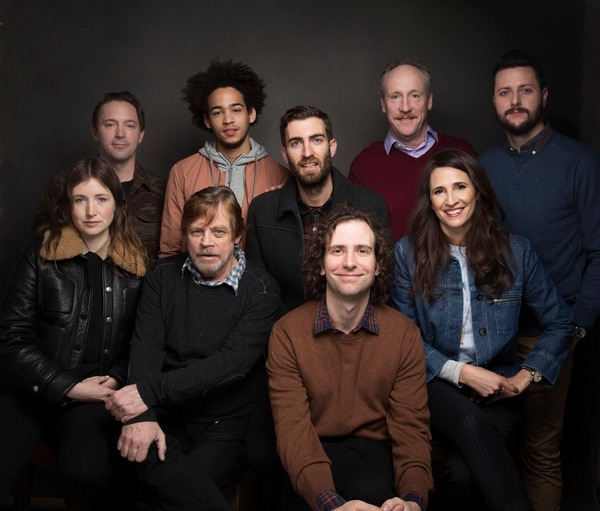Actor Beck Bennett, back row from left, actor Jorge Lendeborg Jr., director Dave McCary, actor Matt Walsh, writer Kevin Costello, actress Kate Lyn Sheil, foreground from left, actor Mark Hamill, actor Kyle Mooney and actress Michaela Watkins pose for a portrait to promote the film,