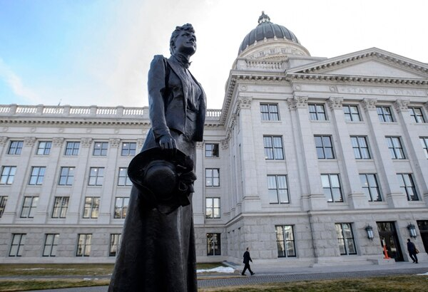 (Steve Griffin | The Salt Lake Tribune) Statue of Dr. Martha Hughes Cannon at the Utah State Capitol. SJR1, a concurrent resolution initiating the replacement of the state's statue of Philo Farnsworth in the United States Capitol with a statue of Dr. Martha Hughes Cannon, passes out of the Senate and heads to the House, following discussion in the Senate Chamber in the State Capitol in Salt Lake City Monday January 29, 2018.