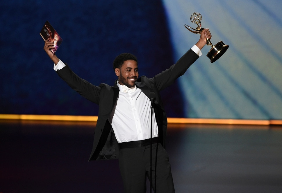 Jharrel Jerome accepts the award for outstanding lead actor in a limited series or movie for When They See Us at the 71st Primetime Emmy Awards on Sunday, Sept. 22, 2019, at the Microsoft Theater in Los Angeles. (Photo by Chris Pizzello/Invision/AP)