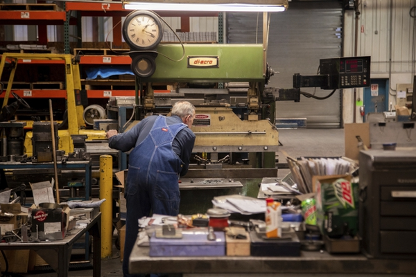 Hartmut Jeske is 80 years old and is still working full time at Richards Sheet Metal Works in Ogden. He is celebrating 60 years at the company. Thursday, June 14, 2018. (Ben Dorger /Standard-Examiner via AP)