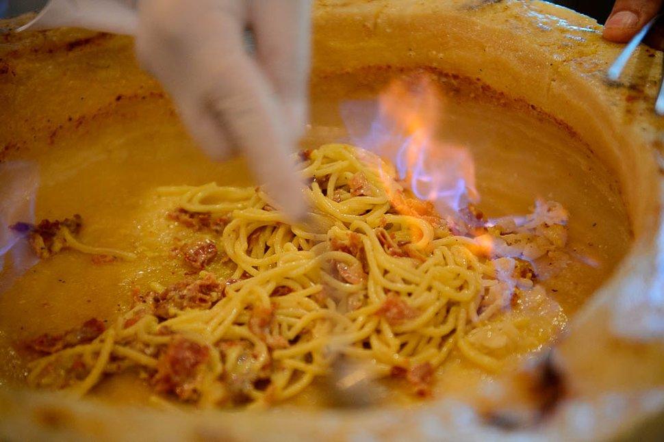 (Trent Nelson | The Salt Lake Tribune) Spaghetti alla carbonara at Dolce Sicilia, the newest sibling in the Sicilia Mia and Antica Sicilia family of Italian restaurants.
