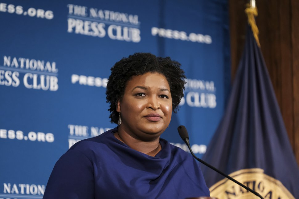 (Michael A. McCoy | AP file photo) Former Georgia House Democratic Leader Stacey Abrams speaks at the National Press Club in Washington, Nov. 15, 2019.