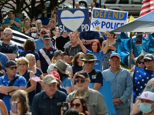 (Francisco Kjolseth  |  The Salt Lake Tribune) Supporters of law enforcement gathered at City Hall in Salt Lake City for a rally in support of police hosted by the Utah Business Revival on Saturday, June 20, 2020. A woman was recently charged in Utah with an anti-police hate crime.