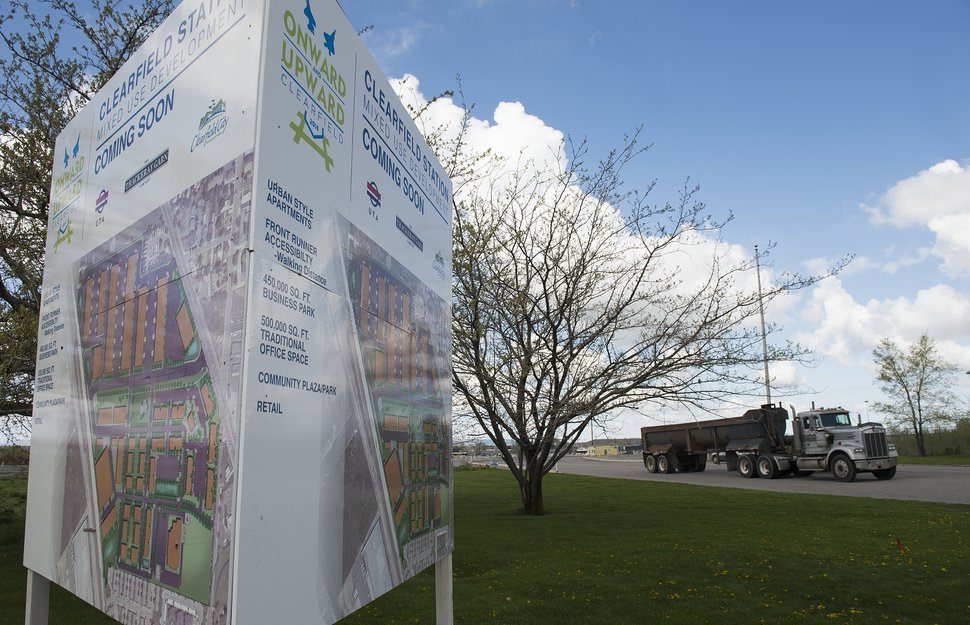 (Leah Hogsten | The Salt Lake Tribune) This file photo shows a sign that advertised a once-planned transit-oriented development around the Clearfield FrontRunner Station. Early plans fell apart, and the site is among many the UTA may consider for future development.