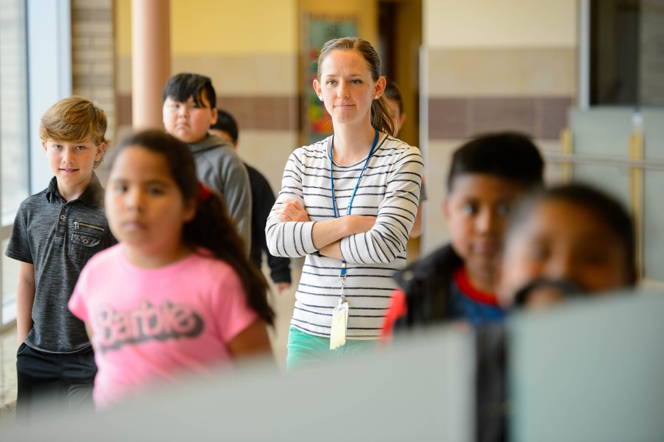 (Trent Nelson | The Salt Lake Tribune) Canyons School District Teacher of the Year Jessica Beus walks her class to lunch at Midvale Elementary on Wednesday April 24, 2019.