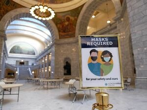 (Francisco Kjolseth  | The Salt Lake Tribune) The Capitol remains closed to the public as members of the House and Senate gather as the Utah State Legislature opens the 2021 legislative session at the Capitol in Salt Lake City on Tuesday, Jan. 19, 2021 — with reminders to wear face masks placed prominently.