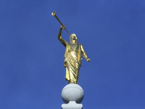 (Rick Bowmer, AP file photo) In this April 6, 2019, file photo, the Angel Moroni statue sits atop the Salt Lake Temple.